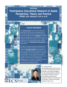 Participatory Educational Research in Global Perspective: Theory and Practice EDUC664