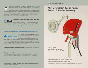 New Directions in Russian Jewish Brandeis University