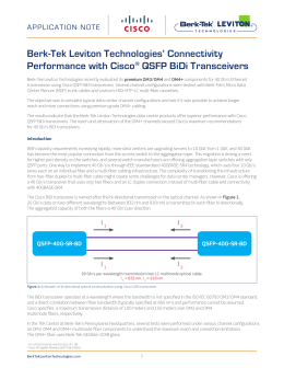 Berk-Tek Leviton Technologies' Connectivity Performance with Cisco QSFP BiDi Transceivers APPLICATION NOTE