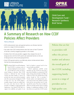 A Summary of research on How CCDf Policies Affect Providers 02