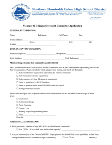 Measure Q Citizens Oversight Committee Application Form