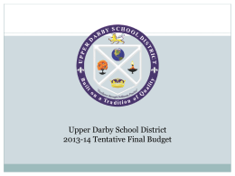 Upper Darby School District 2013-14 Tentative Final Budget