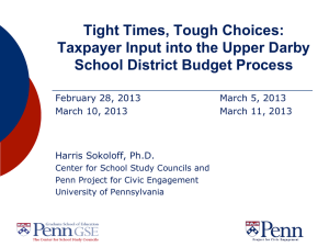Tight Times, Tough Choices: Taxpayer Input into the Upper Darby