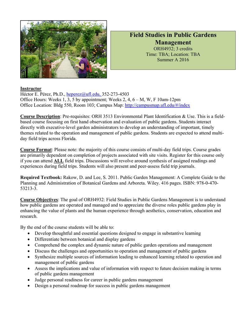 Field Studies In Public Gardens Management