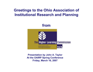 Greetings to the Ohio Association of Institutional Research and Planning from