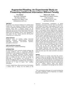 Augmented Reading: An Experimental Study on Presenting Additional Information Without Penalty