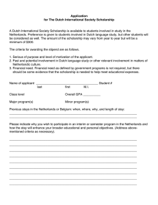 Application for The Dutch International Society Scholarship
