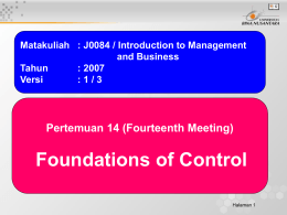 Foundations of Control Pertemuan 14 (Fourteenth Meeting) and Business