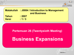 Business Expansions Pertemuan 26 (Twentysixth Meeting) and Business