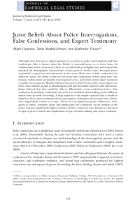 Juror Beliefs About Police Interrogations, False Confessions, and Expert Testimony