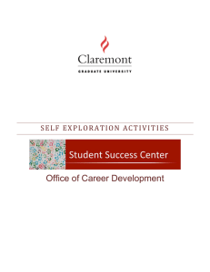 Office of Career Development SELF EXP LORATION ACT IVI TIES