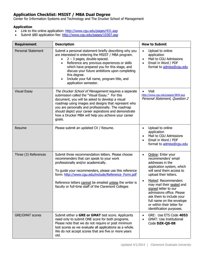 Application Checklist: MSIST / MBA Dual Degree