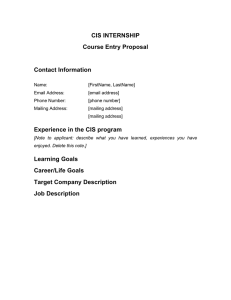 CIS INTERNSHIP Course Entry Proposal  Contact Information