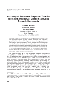 Accuracy of Pedometer Steps and Time for Dynamic Movements Kenneth H. Pitetti