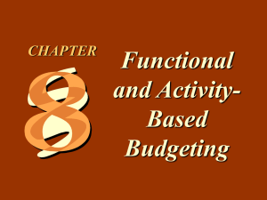 Functional and Activity- Based Budgeting
