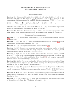 COMBINATORICS. PROBLEM SET 11 EXPONENTIAL FORMULA Seminar problems