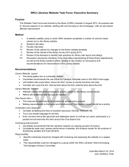 WKU Libraries Website Task Force: Executive Summary    Purpose