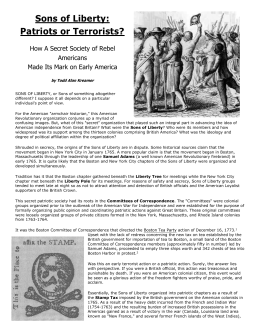 Sons of Liberty: Patriots or Terrorists? How A Secret Society of Rebel Americans