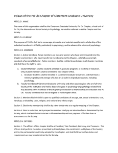 Bylaws of the Psi Chi Chapter of Claremont Graduate University