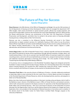 The Future of Pay for Success Speaker Biographies