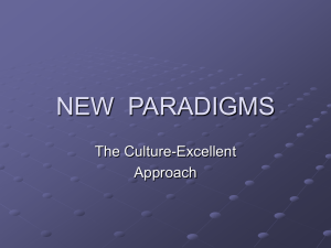 NEW  PARADIGMS The Culture-Excellent Approach
