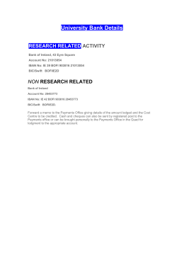 University Bank Details RESEARCH RELATED ACTIVITY