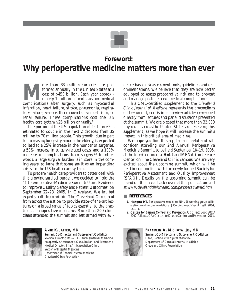 M Why Perioperative Medicine Matters More Than Ever Foreword