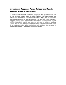 Investment Proposal Funds Raised and Funds Needed, Kona Gold Coffees