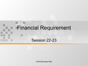 Financial Requirement Session 22-23 J0704-Business Plan