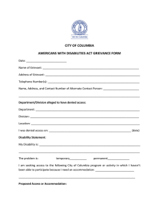 CITY OF COLUMBIA AMERICANS WITH DISABILITIES ACT GRIEVANCE FORM