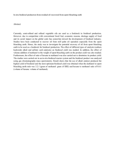 In situ biodiesel production from residual oil recovered from spent...  Abstract: Currently,  semi-refined  and  refined  vegetable ...