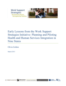 Early Lessons from the Work Support Strategies Initiative: Planning and Piloting