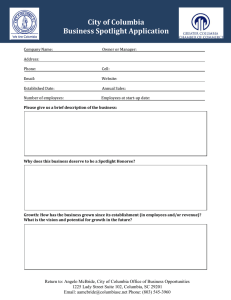 City of Columbia Business Spotlight Application