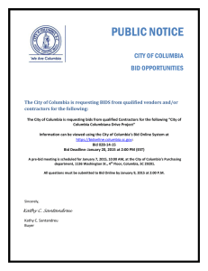 PUBLIC NOTICE  CITY OF COLUMBIA BID OPPORTUNITIES