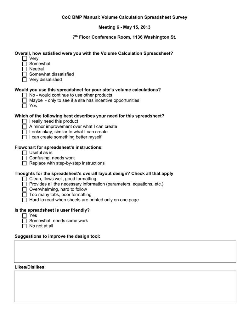 CoC BMP Manual: Volume Calculation Spreadsheet Survey 7