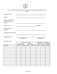 City of Columbia Regulated Industrial Wastewater Discharge Monitoring Report Form DMR