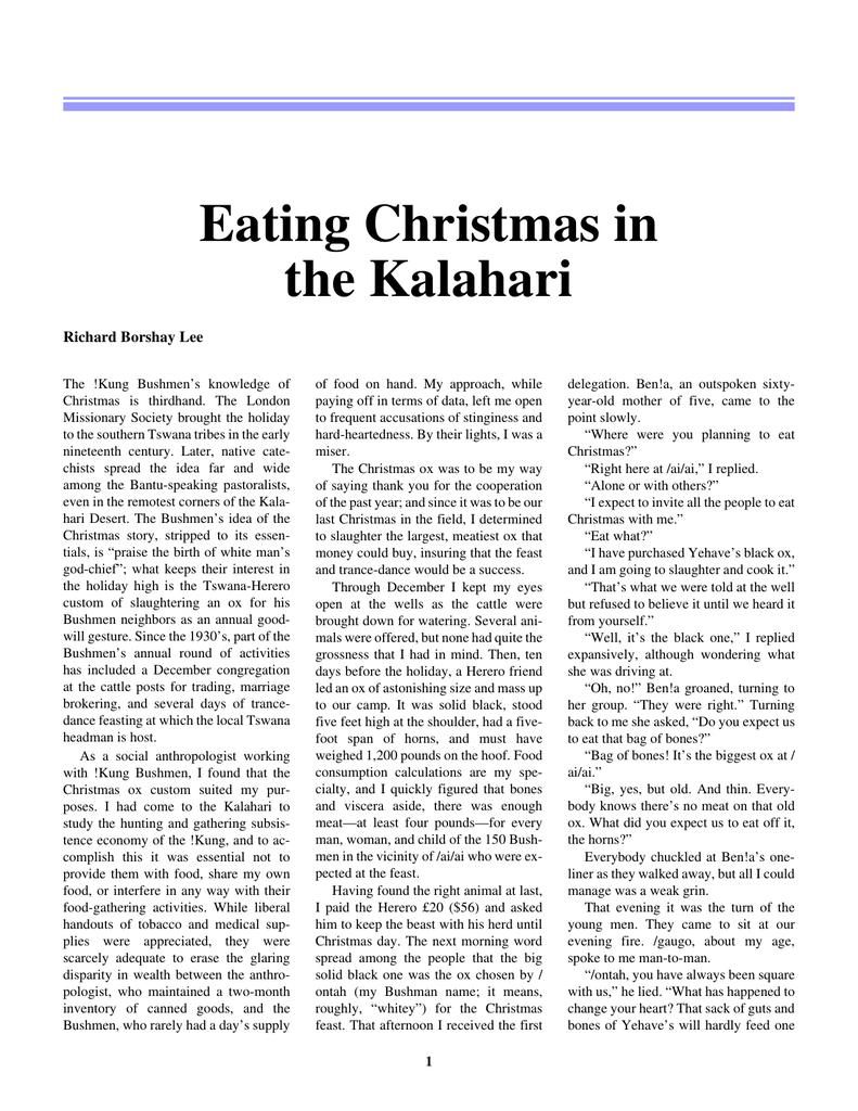 Eating christmas in the kalahari analysis