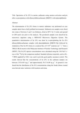 Title: Speciation of Se (IV) in marine sediments using neutron.
