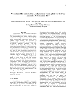 Production of Biosurfactant by Locally Isolated Thermophilic Facultatively