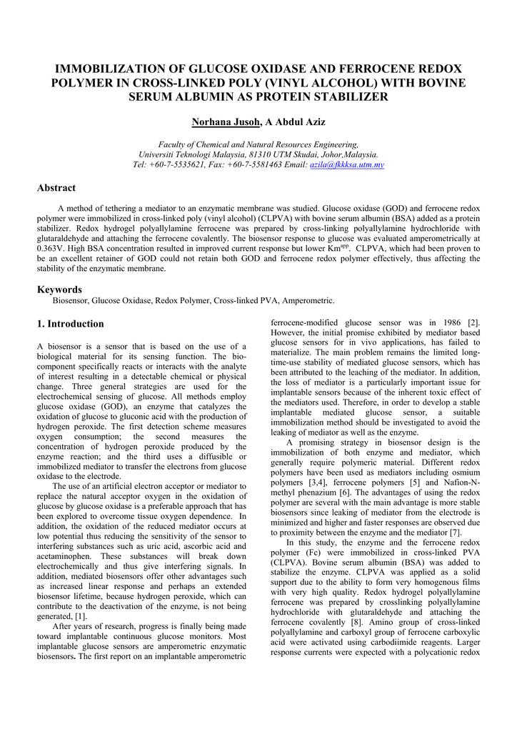 IMMOBILIZATION OF GLUCOSE OXIDASE AND FERROCENE REDOX