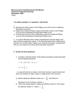 Macroeconomic Qualifying Exam-302 Module Claremont Graduate University September, 2006