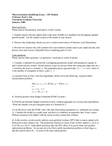 Macroeconomics Qualifying Exam -- 303 Module Professor Paul J. Zak January, 2004