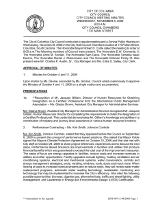 CITY OF COLUMBIA  CITY COUNCIL CITY COUNCIL MEETING MINUTES