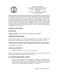 CITY OF COLUMBIA  CITY COUNCIL MEETING MINUTES TUESDAY, NOVEMBER 15, 2011