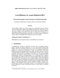 Cost-Efficiency by Arash Method in DEA