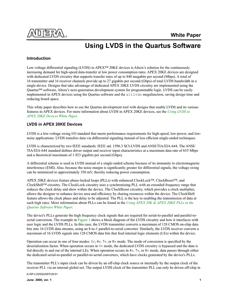 Using LVDS in the Quartus Software White Paper Introduction