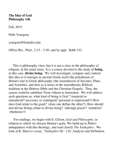 The Idea of God Philosophy 146  Fall, 2015