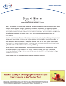 Drew H. Gitomer Distinguished Researcher Policy Evaluation & Research Center