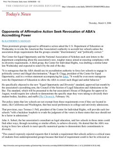 Opponents of Affirmative Action Seek Revocation of ABA's Accrediting Power