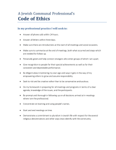 Code of Ethics  A Jewish Communal Professional's